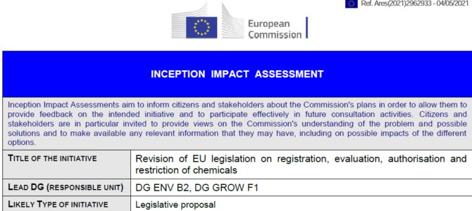 Revízia nariadenia REACH; priebežné hodnotenie dopadov (IIA) – možnosť pripomienkovať do 1.6.2021